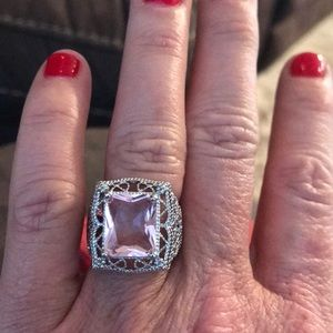 Silver plated ring with pink crystals (vintage)